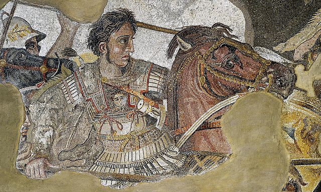 Roman floor mosaic of Alexander the Great, circa 100 BC; originally from the House of Faun in Pompeii.