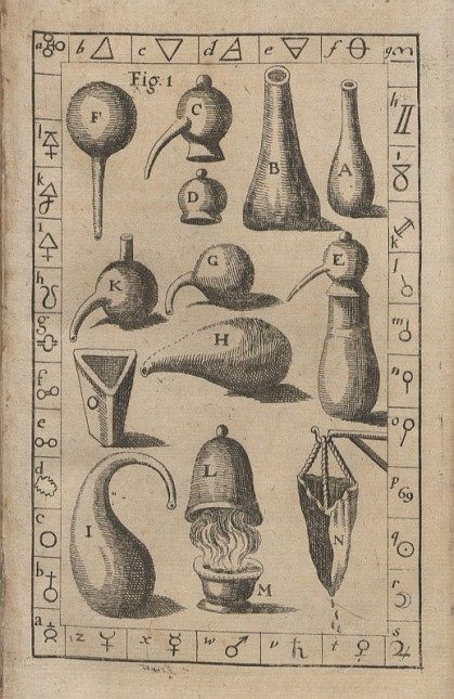 Alchemical apparatus. 1681 AD.