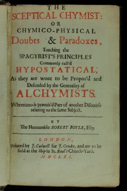 Title page from The Sceptical Chymist, a foundational text of chemistry, written by Robert Boyle in 1661.