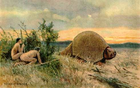 Paleo-Indians hunting a glyptodont Heinrich Harder