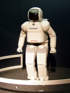 ASIMO is an advanced humanoid robot developed by Honda. Shown here at Expo 2005.