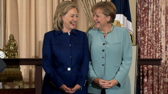 Hillary Clinton and Angela Merkel
