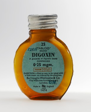 L0058212 Bottle of digoxin tablets, 'Tabloid' brand, London, England,